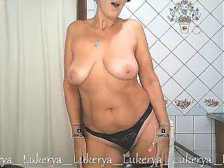 Lukerya has fun in the kitchen