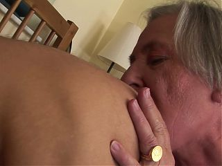 70 year old granny and nasty guy licking their assholes