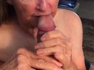 Granny just swallows cum