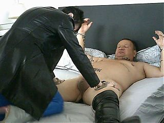 My Latex Milf Gives Me Anal in Her Long Leather Coat