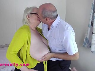 Lucky man massaging Sallys big tits