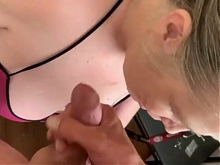 Blowing 2 loads all over my Landlords face and tits