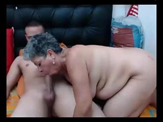 Fat Latina granny gets anally fucked and creampied by young boy