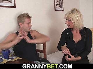 Blonde mature neighbor sucks and rides his dick