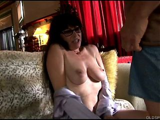 Naughty older lady sucking and fucking for a facial cumshot