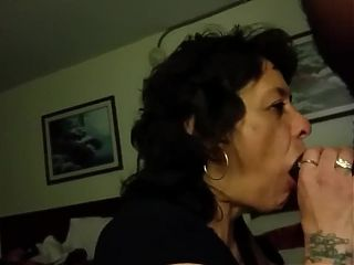 Dark haired granny needs her daily BBC oral creampie