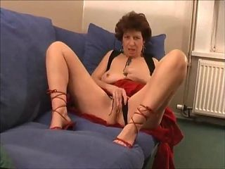 Very hot grandma in high heels masturbating, moaning and cumming