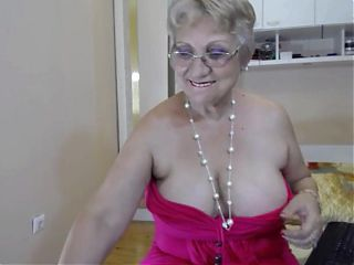 Big breasted granny strips and teases on webcam AGAIN