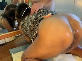 my Filipina taking it good in the ass, anal with BJ