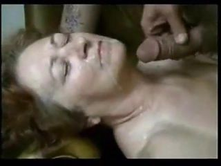 Grandma sucking young dick and getting facial