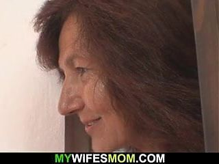 Very old mom rides his cock