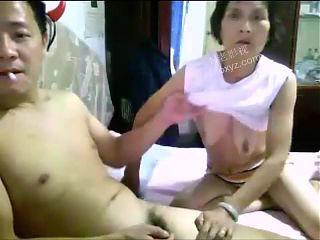 Chinese granny having fun