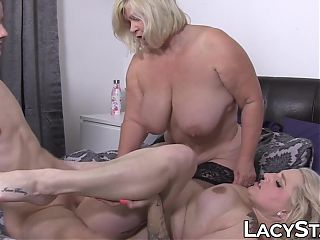 Inked grandma joins Lacey Starr for a pussy stretching threeway